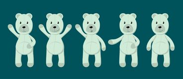 Vector collection of cute toy polar bears. vector illustration