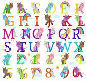 Vector Collection of Cute Unicorn Themed Alphabet Letters. With Rainbows and Stars stock illustration