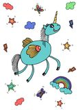 Vector collection of cute unicorns, rainbow, butterfly, stars, magic wand. Adorable animal graphic set. Magical design elements vector illustration