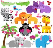 Vector Collection of Cute Valentines Day Zoo Animals Stock Photo