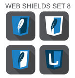 Vector collection of  database web development shield signs: fea Royalty Free Stock Photo