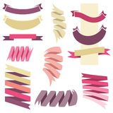 Vector collection of decorative design elements - multicolored r. Etro scroll ribbons Stock Photo