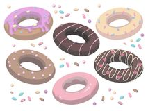 Vector collection of delicious cartoon style glazed and sprinkled sweet donuts vector illustration
