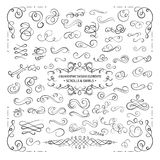 VECTOR collection of design elements, calligraphic swirls and scrolls for certificate decoration, greeting cards. Wedding invitations. Black line isolated on Royalty Free Stock Images
