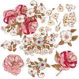 Vector collection of detailed vector flowers for design Royalty Free Stock Image