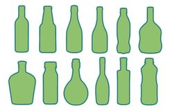 Vector collection of different shaped glass or plastic bottle silhouettes vector illustration