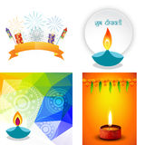 Vector collection of different types of diwali background. With decorated diya and crackers, shubh deepawali (translation: happy diwali vector illustration