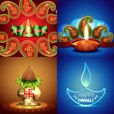 Vector collection of different types of diwali background illust Royalty Free Stock Photo