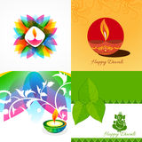 Vector collection of different types of diwali background illust Royalty Free Stock Image
