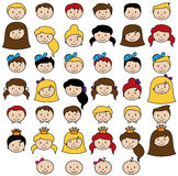 Vector Collection of Diverse Stick People in Vector Format. Vector Collection of Diverse Stick People Faces or Heads in Vector Format Royalty Free Stock Photography