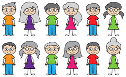 Vector Collection of Diverse Stick People in Vector Format Stock Photography