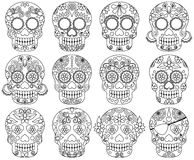 Vector Collection of Doodle Day of the Dead Skulls Royalty Free Stock Photos