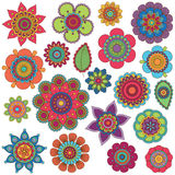 Vector Collection of Doodle Style Flowers. Or Mandalas