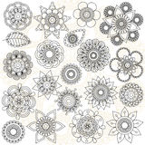 Vector Collection of Doodle Style Flowers Royalty Free Stock Images
