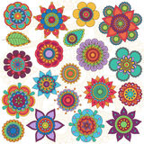 Vector Collection of Doodle Style Flowers Stock Photo
