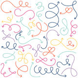 Vector Collection of Doodled Squiggly Arrows Royalty Free Stock Images