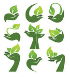 Vector collection of ecological symbols and signs,human's hands Stock Image