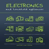 A vector collection of electronics and home appliance icons and Stock Images