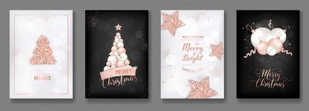 Vector collection of elegant merry christmas cards with shining rose gold glitter christmas balls star christmas tree. Flyer and new year brochure 2019 royalty free illustration