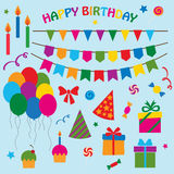 Vector collection of elements for birthday party Stock Image