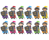 Vector Collection of Ethnically Diverse Knights Royalty Free Stock Image