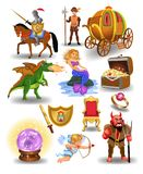 Vector collection of fairy tale icons and characters like mermaid, dragon, knight and crystal ball. Isolated on a white background Royalty Free Stock Photo