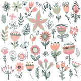 Vector collection of fancy flowers stock illustration