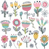 Vector collection of fancy flowers. Scandinavian motives. stock photography