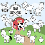 Vector Collection of Farm Animals Stamps or Line Art Royalty Free Stock Photos