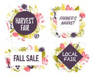 Vector collection of farmers market & harvest fair emblems & labels with hand drawn sketch style vegetables. Food festival, autumn fall sale - design elements royalty free illustration