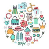 A set of elements. Clothes and accessories. Vector collection of female tricks. Elements of design. Icons royalty free illustration