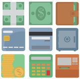 Vector collection of finance icons: dollars, cash, wallet, card,. Safe, atm machine, coins, calculator round edges square icon isolated set on white background Royalty Free Stock Image