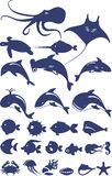 Vector collection of fish and sea animals. Stylized set of marine animals and fish made on a white background in blue Stock Photography