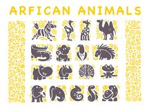 Vector collection of flat African cute animal icons isolated on white background. Tribal style animals and birds symbols. Hand drawn emblems. Perfect for logo stock illustration