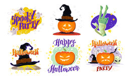 Vector collection of flat cartoon Halloween design samples isolated on white background. Royalty Free Stock Photos
