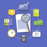 Vector collection of flat and colorful business and finance concepts accounting icons.  Royalty Free Stock Photography