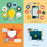 Vector collection of flat and colorful business, marketing and finance concepts. Design elements for web and mobile applications. Business, technology and Stock Photography