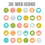 Vector collection of flat and colorful web icons on SEO, business, shopping and technology theme. Design elements for mobile and web applications Vector Illustration