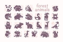 Vector collection of flat cute animal icons isolated on white background. Forest animals and birds symbols. Hand drawn emblems. Perfect for logo design Royalty Free Stock Photo