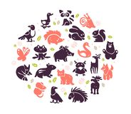 Vector collection of flat cute animal icons isolated on white background. Forest animals and birds symbols. Hand drawn emblems. Perfect for logo design vector illustration