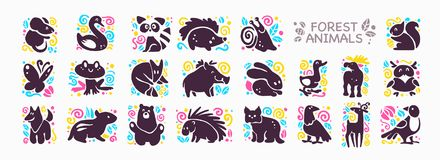 Vector collection of flat cute animal icons isolated on white background. Forest animals and birds symbols. Hand drawn emblems. Perfect for logo design Royalty Free Stock Photography
