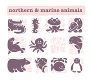 Vector collection of flat cute animal icons isolated on white background. Northern and marine animals and birds symbols. Hand drawn emblems. Perfect for logo Stock Photo