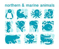 Vector collection of flat cute animal icons isolated on white background. Northern and marine animals and birds symbols. Hand drawn emblems. Perfect for logo Stock Photos