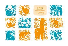 Vector collection of flat cute animal icons isolated on white background. Rare animals and birds symbols. Hand drawn exotic tropic animal emblems. Perfect for Royalty Free Stock Photo
