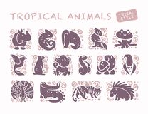 Vector collection of flat cute animal icons isolated on white background. Tropical animals and birds tribal symbols. Hand drawn emblems. Perfect for logo Stock Image