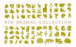 Vector collection of flat cute animal icons isolated on white background. Exotic, rare, tropic, north, african, forest & farm animals. Dog, squirrel, zebra royalty free illustration