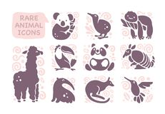 Vector collection of flat cute animal icons isolated on white background. Rare animals and birds symbols. Hand drawn exotic tropic animal emblems. Perfect for stock illustration