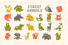 Vector collection of flat cute animal icons isolated on white background. Forest animals and birds symbols. Hand drawn emblems. Perfect for logo design Stock Images