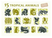 Vector collection of flat cute animal icons isolated on white background. Tropical animals and birds tribal symbols. Hand drawn emblems. Perfect for logo Royalty Free Stock Images