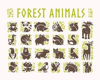 Vector collection of flat cute animal icons isolated on white background. Forest animals and birds symbols. Hand drawn emblems. Perfect for logo design Royalty Free Stock Images